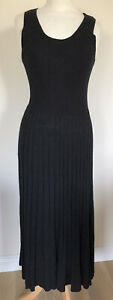 bnwt MARKS & SPENCER LINEN BLEND KNITTED MAXI DRESS SIZE 12 BLACK or 14 OATMEAL