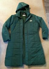 Women's NFL Green Bay Packer Long Winter Puffer Jacket Coat Removable Hood Large