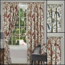 "Kensington Floral Printed Half Panama Bird Design Lined 3"" Curtains Range"