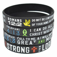 4x Lots Bible Verses Silicone Bracelet Bangle Religious JESU Christian Wristband