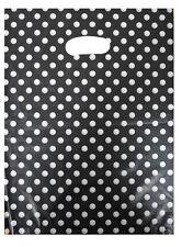 NEU 100 Plastiktüten Tragetaschen Einkaufstaschen im Punkt Look 25x33cm TOP