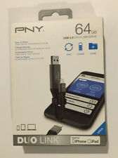 PNY Duo Link Sync & Charge 128GB Metal Gray for Iphone/iPad P-FDI128GLA02GC-Rb