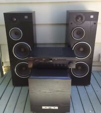 Vtg Jbl Floor Tower Speakers Hp88f And PB10 With Yamaha Rx-385 Receiver