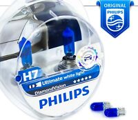NEW H7 Philips Diamond Vision 5000K Car Headlight Bulbs 12V 55W PX26d +Blue W5W