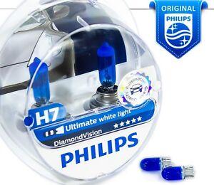 NEW H7 Philips Diamond Vision 5000K Car Headlight Bulbs 12V 55W PX26d +Blue W5W