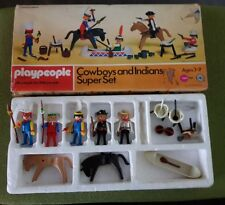 Playpeople superconjunto figuras indios y vaqueros década de 1970-Marx Juguetes en Caja Exc.