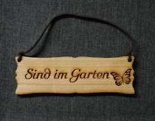 """Holzschild mit Lederband """"sind im Garten"""" Holz Türschild Shabby mit Grafik"""