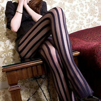 HD_ CO_ HK- Women Wide Stripes Transparent Breathable Tights Stockings Socks Pan