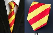 Red and Yellow Stripe Patterned Handmade 100% Silk Wedding Tie