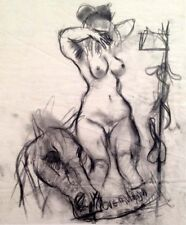 "Julian Ritter_Nude Lady With Horse -1 Charcoal on Vellum_15"" x 18"" Un-Signed-364"