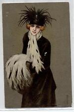 COLOMBO Donnina elegante Cappello Fashion Woman Hat PC Circa 1918 Italy