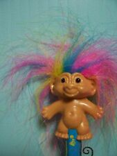 ~Rare~ GOOD LUCK TROLL PENCIL w/RAINBOW HAIR - Russ Troll Doll - NEW - Blue