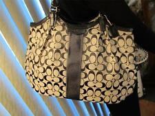 Coach Devin Signature Stripe Tote Handbag black/white New F28503 MSRP $328