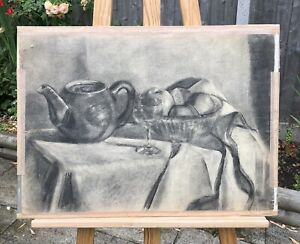 ORIGINAL CHARCOAL STUDY ON PAPER STILL LIFE SIGNED BY THE ARTIST 1951