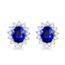 Birth stone 14K White Gold Engagement Natural Diamond Sapphire Stud Earrings