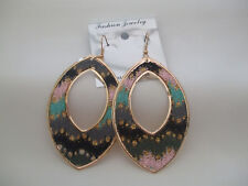 Oval Drop Earrings Glitter And Fabric Details Pink Grey Mix New