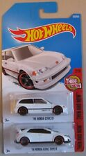 Hot Wheels Then and Now '90 HONDA CIVIC EF & '16 HONDA CIVIC TYPE R white