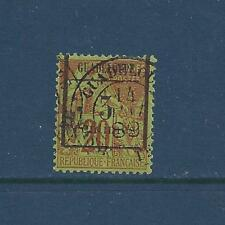 """GUADELOUPE - 3 - 5 - USED - 1889 - """"GUADELOUPE  + NEW VALUE"""" O/P ON FR COL STAMP"""