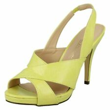 LADIES YELLOW SLING-BACK PLATFORM STILETTO STRAPPY SANDALS SHOES PUMPS SIZES 3-8