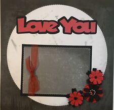 Premade Scrapbook Page 12x12 Love You Red Black & White Flowers Sewn -Jenn