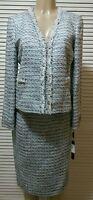 NEW! TAHARI ASL Shirley  White/Blue Tweed Metallic 2PC Skirt Suit 10