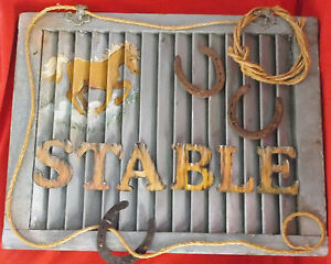 Vintage Rare Handmade Horse/Rope/Horseshoes Window Shutter-Art Work-Stable Sign