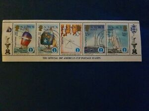 Soloman Islands Official 1987 America's Cup Strip of 5 Stamps