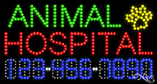 """New """"Animal Hospital"""" 32x17 w/Your Phone Number Solid/Animated Led Sign 25040"""