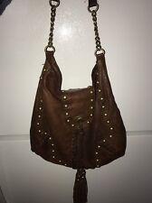 Cynthia Rowley Boho Brown Leather Tassel & studded Shoulder Bag