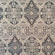 GREY BLACK TAUPE TRADITIONAL MEDALLION TAPESTRY WOVEN UPHOLSTERY FABRIC