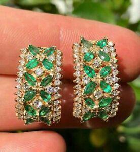 3Ct Marquise Cut Green Emerald Diamond Huggie Hoop Earrings 14K Yellow Gold Over