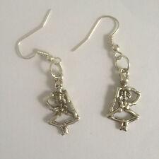 Ladies DANCING SKELETON DROP EARRINGS Silver Findings Hooks ~NEW ~