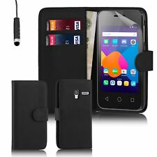 "32nd Book Wallet PU Leather Case Cover for Alcatel PHONES Screen Protector Pixi 3 4.0"" Black"