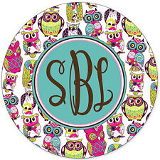 Monogrammed Mouse Pad - Cute Pink Blue Owls Personalized Custom Gift Monogram