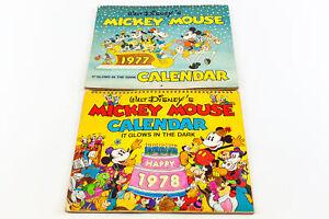 Vintage Walt Disney Mickey Mouse Glow In The Dark Calendars 1977 & 1978   USED