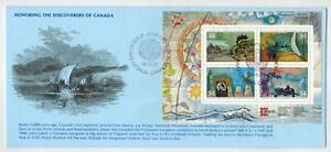 1986 HONORING DISCOVERERS OF CANADA SOUVENIR SHEET FDC KMC BLUE ENV Capex 1987