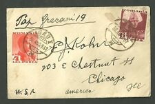 1937 Cover Sent from Romania to Chicago Illinois with 2 Stamps