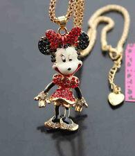 enamel Beauty rat Pendant Necklace 651#3R Betsey Johnson Shining crystal