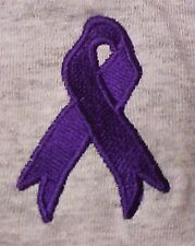 Purple Awareness Ribbon T-Shirt L Cancer Cause Embroidered S/S Unisex Tee New