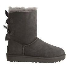 Ugg Bailey Bow II Womens 1016225-Grey Gray Twinface Sheepskin Suede Boots Size 9