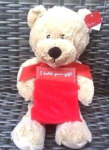 "Clintons 16"" Soft Plush Teddy Bear Gift Bag Pouch Present Ring Holder Christmas"