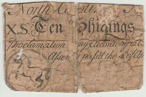 NORTH CAROLINA 10 SHILLINGS of 1748 HORSE MOTIF BACKED by OBITUARY NEWSPAPER NC