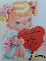 1953 GIRL w Real PINK Ribbon BOW in Blonde Pigtails Vtg VALENTINE  Greeting CARD