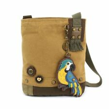 New Chala Canvas Patch Crossbody BLUE PARROT Brown Bag Canvas gift Coin Purse