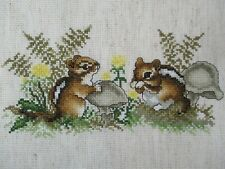 Finished Cross Stitch Chipmunks Nature Scene