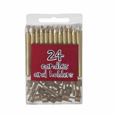 Pack of 24 Gold Birthday Party Cake Candles & Candle Holders
