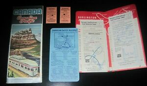 Vintage Lot Canada Canadian Pacific Railroad brochure passenger ticket