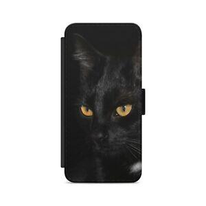 Black Cat Yellow Eyes Wild Animal Flip Wallet Phone Case