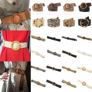 Ladies Women Wide Braided Woven Straw Waist Belt Round Wooden Buckle Belts Dress