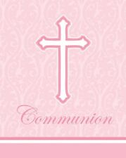 Communion Pink Cross Damask Religious Invitations and Envelopes 24ct Be
